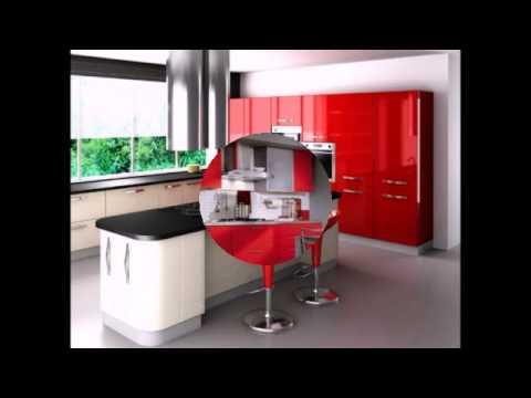 Красно-бело-черные кухни в интерьере
