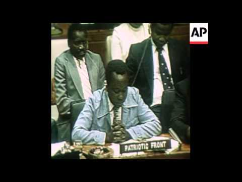 SYND 9 8 78 NKOMO AND ZVOBGO SPEAK AT UN ON INTERNAL SETTLEM