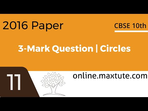 CBSE 2016 Class 10 Math 3 mark question. Board paper solution. Geometry Circles