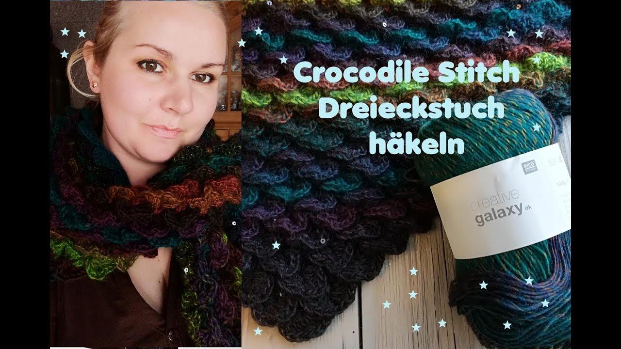 Crocodile Stitch Dreieckstuch häkeln - Schuppenmuster - YouTube
