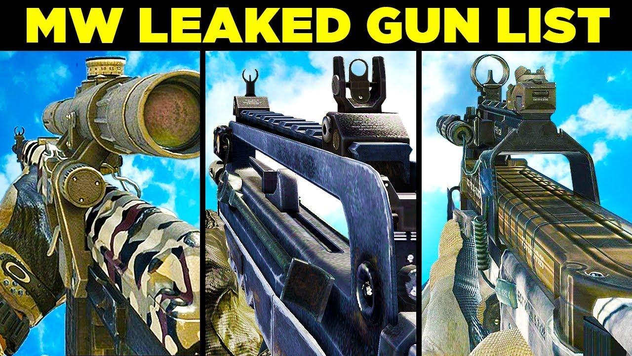 Call of Duty: Modern Warfare Weapons / Gun List Leaked