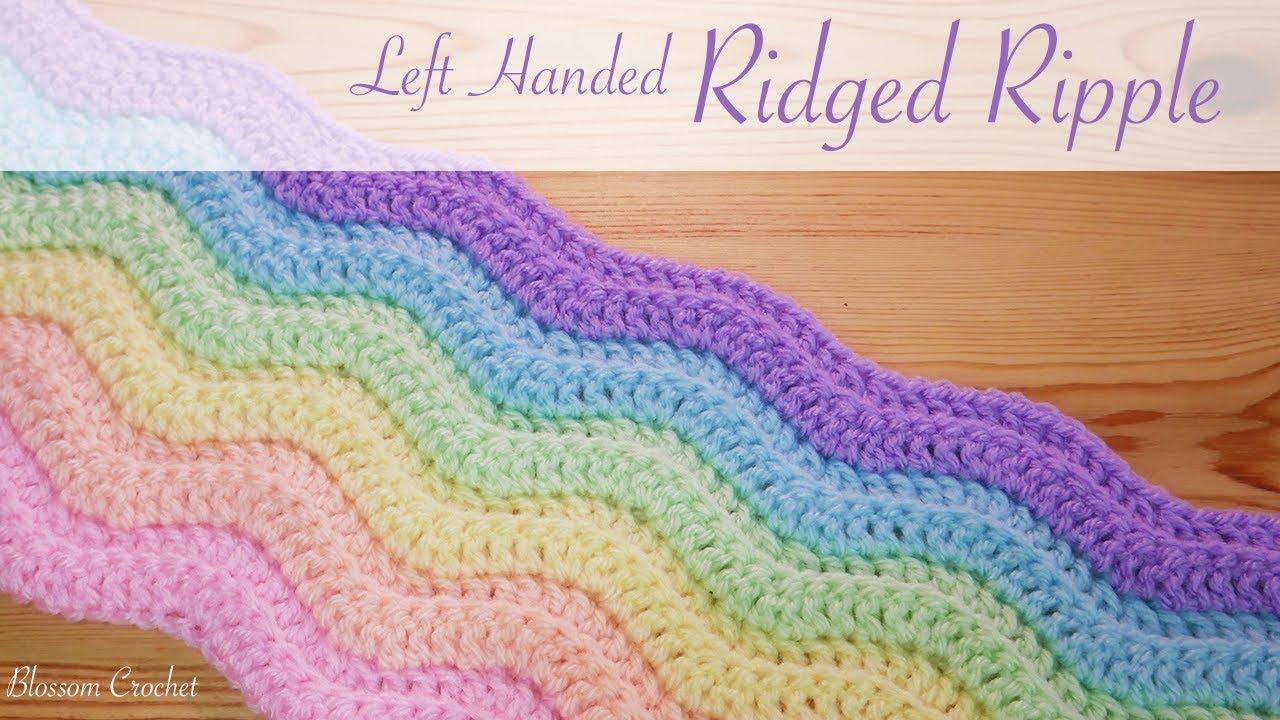 Simple Crochet Left Handed Ridged Ripple Blanket Scarf