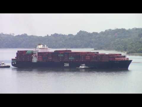 Container Ship ZIM HAIFA at Gatun Lake - Panama Canal (April 22, 2017)