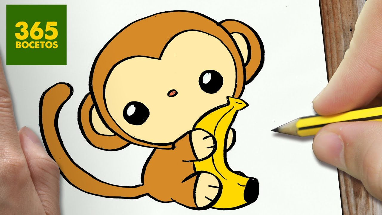 Changuitos Para Dibujar como dibujar mono kawaii paso a paso - dibujos kawaii faciles - how to draw  a monkey
