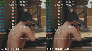 PUBG 1.0 GeForce GTX 1060 3GB vs. GeForce GTX 1060 6GB Benchmark. Playerunknown's Battlegrounds