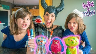 Maleficent's 3 Marker Squishies Challenge with Twins Kate and Lilly!