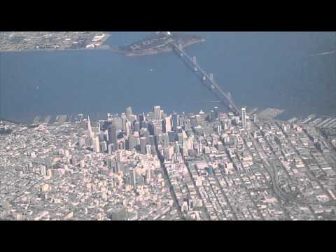 San Francisco Takeoff and Landing SFO California AERIAL VIEW DOWNTOWN