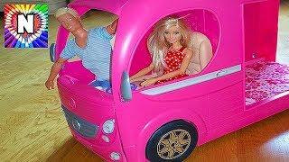 Авто домик для куклы Барби с мебелью  Распаковка игрушек для девочек Barbie Pop Up Camper 2017