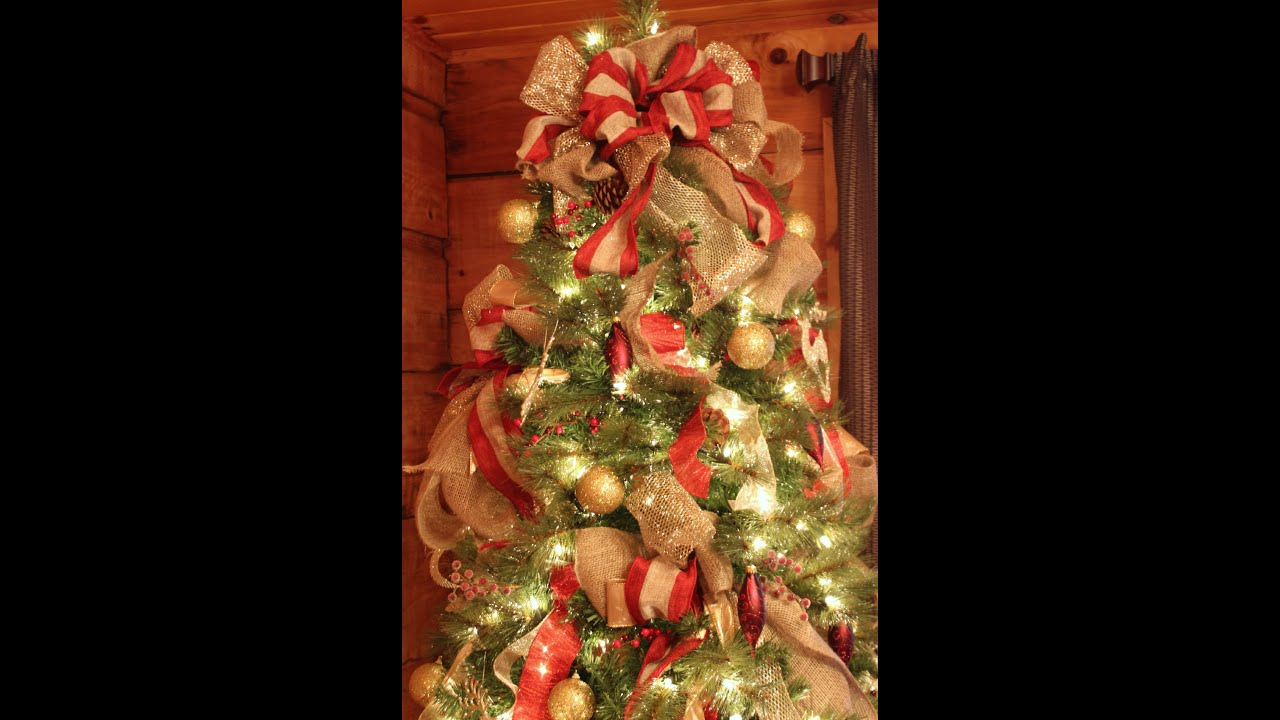 how to decorate a wonderful christmas tree very easy diy youtube - Photos Of Christmas Trees Decorated With Ribbon