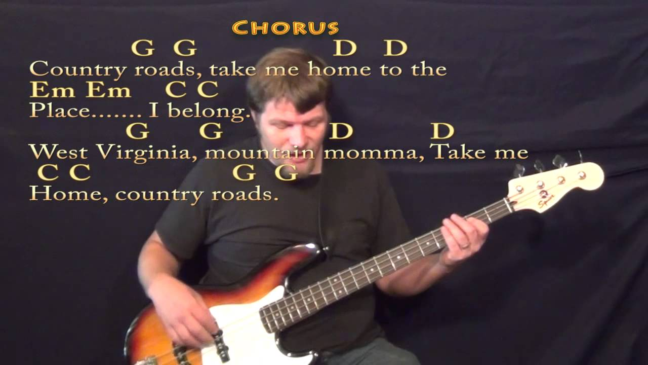 Country Roads John Denver Bass Guitar Cover Lesson In G Major With