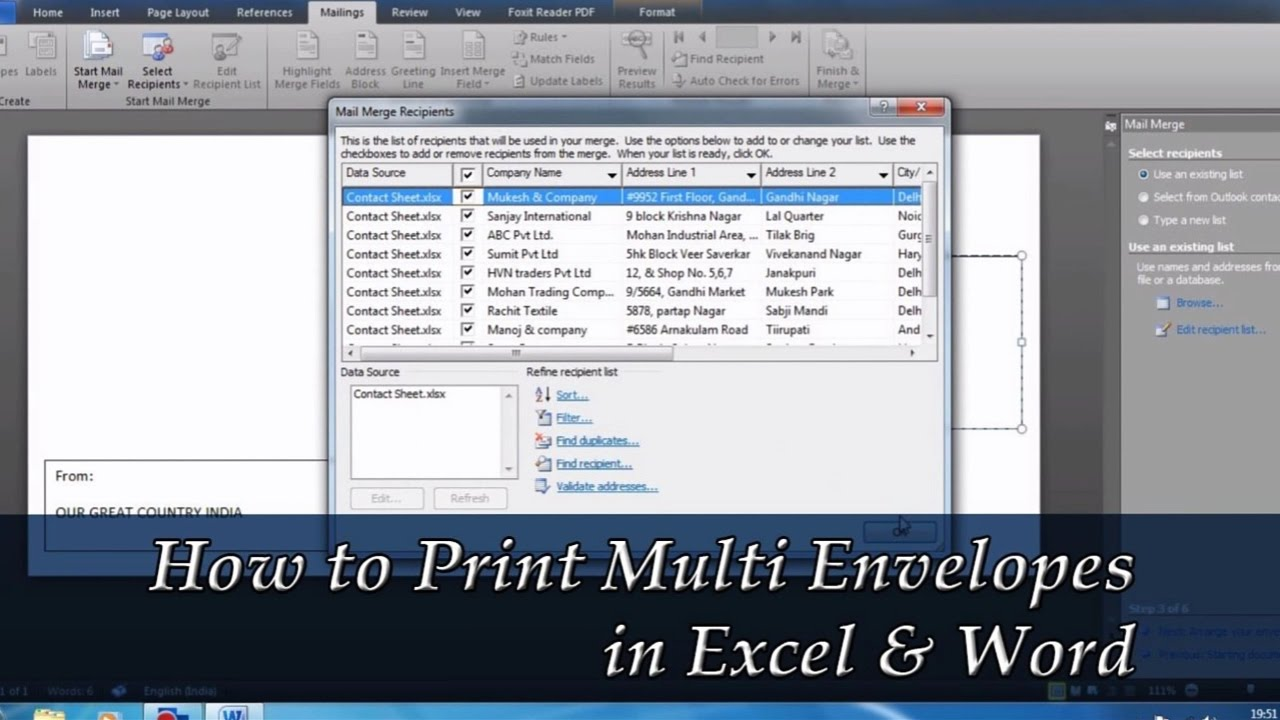 How To Print Multiple Envelopes With Different Addresses In Word