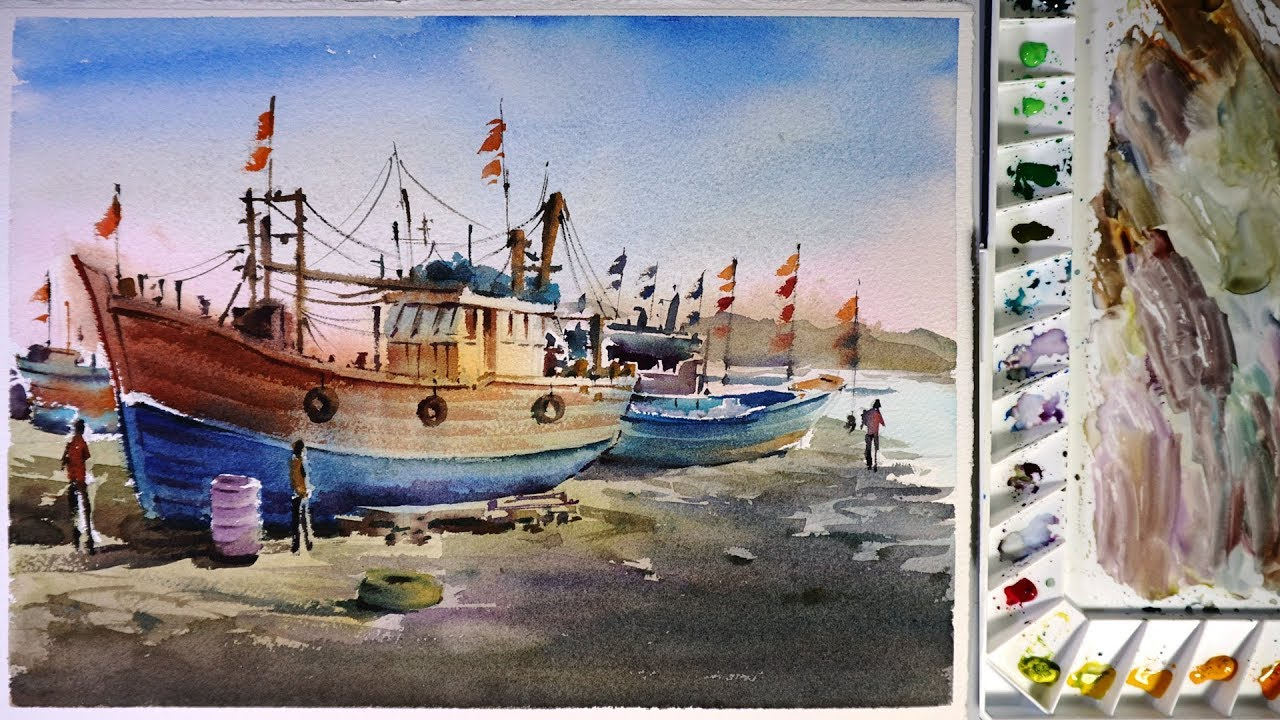 Watercolor painting fishing boat in port youtube for Fishing boat painting