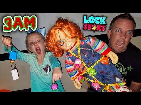 Do Not Open LOCK STARS TOYS at 3AM!!! OMG So Creepy! Chucky & Clown in My House!