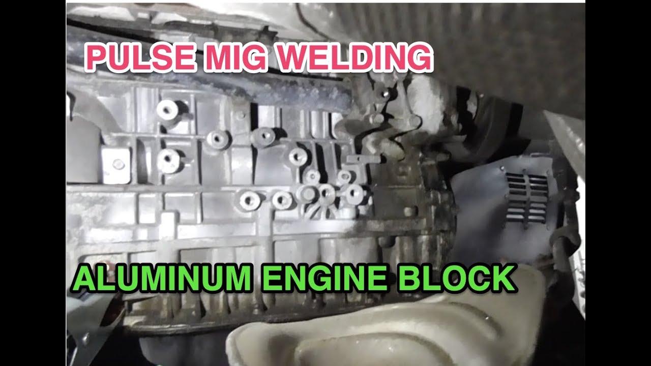 Welding an Aluminum engine block successful !!!!!  Pulse mig