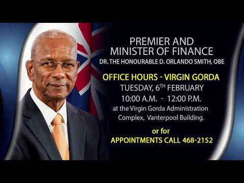Premier and Minister of Finance To Hold Office Hours in Virgin Gorda.