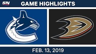 NHL Highlights   Canucks vs. Ducks - Feb 13, 2019