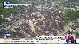 Les images du drone BFMTV au-dessus de Salies-du-Béarn inondée