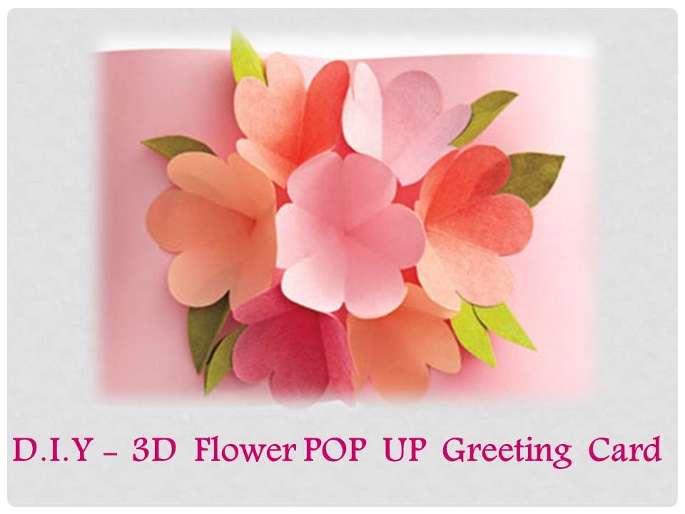 DIY - How to make a 3D Flower POP UP Greeting Card - YouTube - greeting