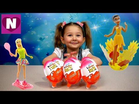 Kinder Joy распаковка Игрушки из серий Феи Диснея и Барби  Disney Fairies and Barbie