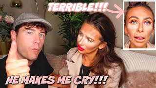I DID MY MAKEUP HORRIBLY TO SEE HOW MY HUSBAND REACTS!! *he makes me cry*