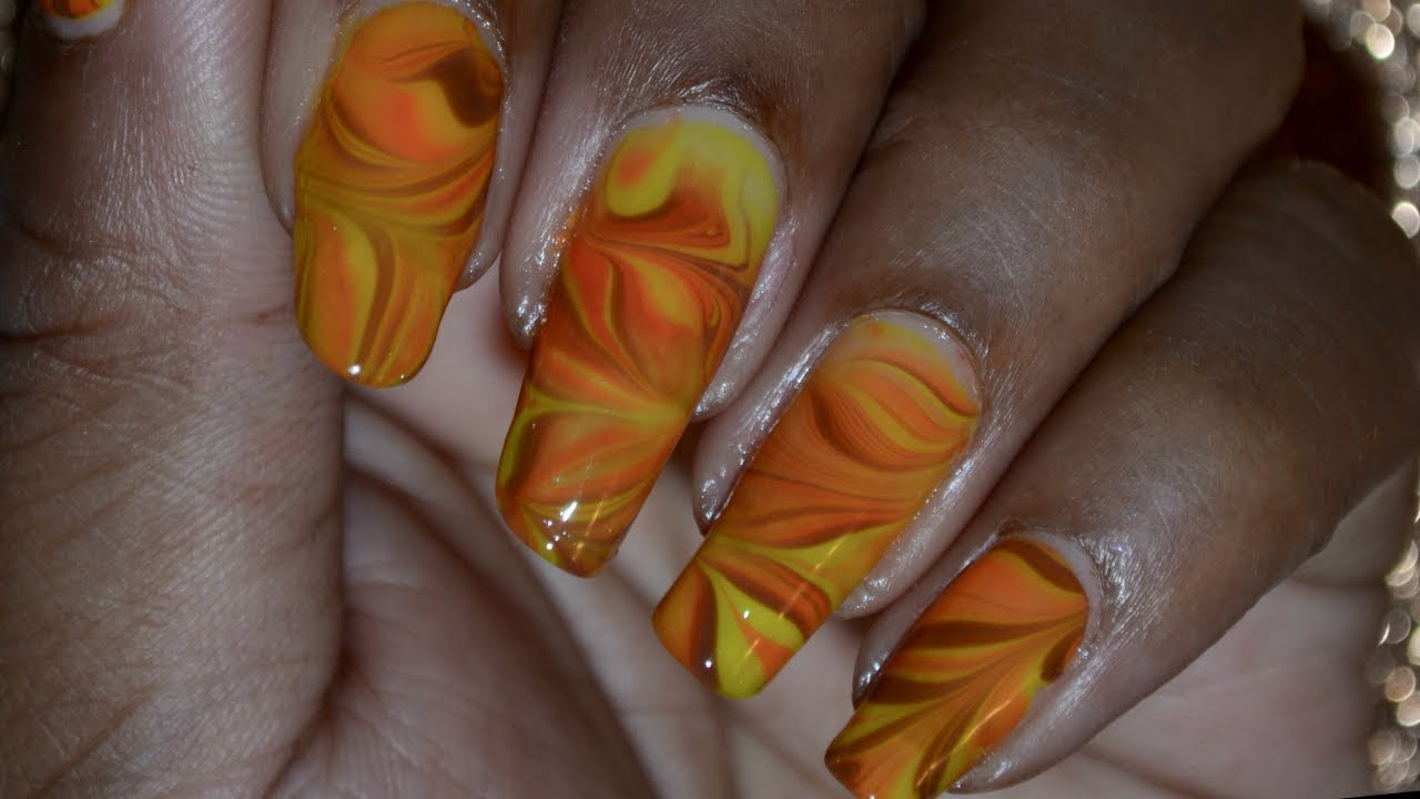 Fall Colors Water Marble Nail Art Tutorial Youtube