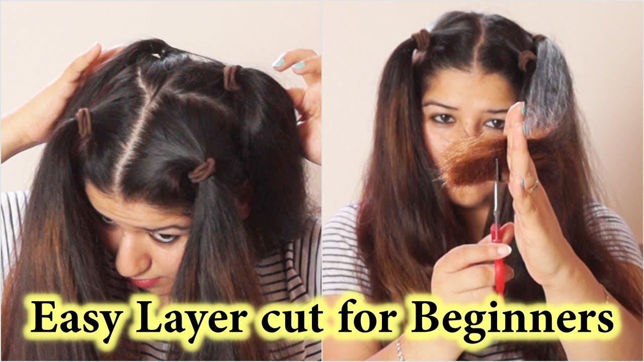 कैसे काटे घर पर ३ स्टेप / How to do step cut in