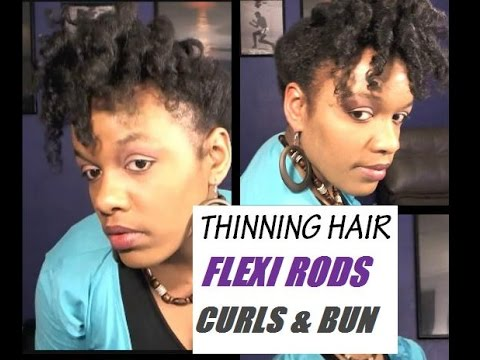 Natural Hairstyles For Thinning Hair Flexi Rod Curls Updo On Fine Natural Hair Baldness Youtube
