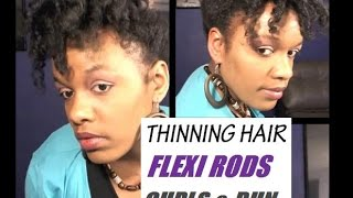 Natural Hairstyles For Thinning Hair | Flexi Rod Curls Updo on Fine Natural Hair | Baldness