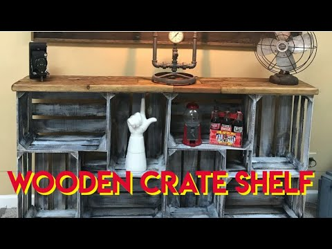 Making a shelf from wooden crates