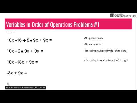 Part 2 Variables in Order of Operations