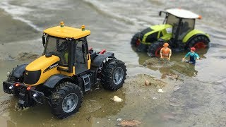 TOY TRACTOR stuck in the lake! | Bruder tractor | Action video for kids