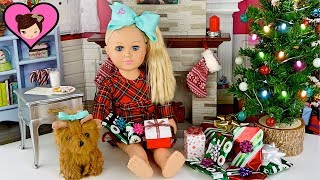 Jojo Siwa Doll Opens Christmas Presents - American Girl Doll Morning Routine