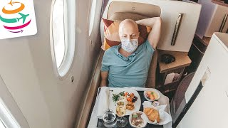 Dominik allein in der Etihad Business Class 787-10 | YourTravel.TV