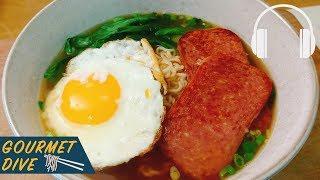餐蛋麵/Hong Kong Style Luncheon Meat u0026 Egg Noodle/ランチョンミート 目玉焼き出前一丁   The Sound Of Food