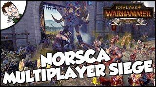 NORSCA SIEGE BATTLE - Total War WARHAMMER Multiplayer Gameplay