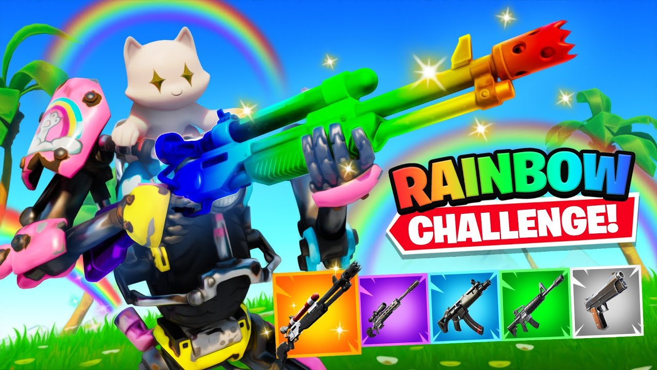 The *NEW* Rainbow Kit Skin Challenge in Fortnite! thumbnail