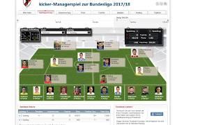 Kicker Managerspiel Saison 17/18 Auswertung 1. Spieltag