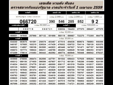 ตรวจหวย 1/4/59 ตรวจสลากกินแบ่งรัฐบาล วันที่ 1 เมษายน 2559
