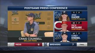Brewers' Counsell: Josh Hader did a 'heck of a job'