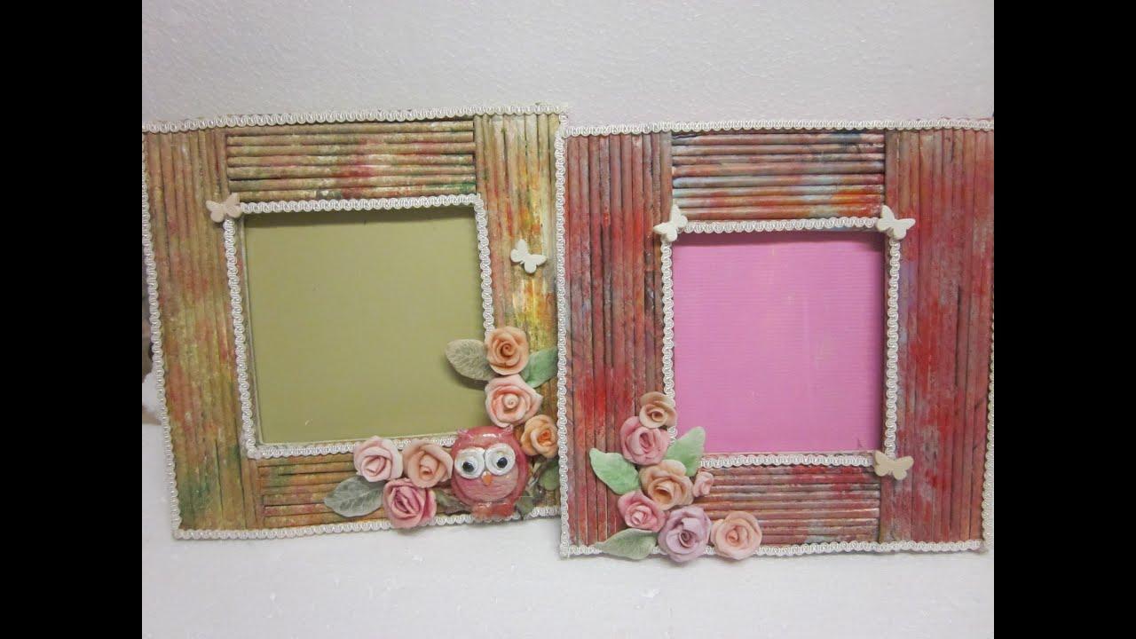 Realizzare una cornice con cannucce di carta e colori for Una cornice di case