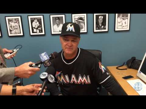 Miami Marlins manager Don Mattingly reacts to news of Dee Gordon
