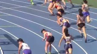 2014東京都高校陸上 女子 4×100mリレー 予選3組 大野萌 検索動画 6