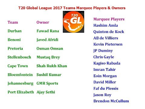 T20 Global League 2017 Teams, Marquee Players & Owners