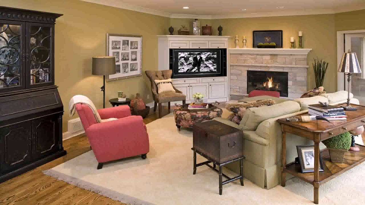 family room design with corner tv youtube