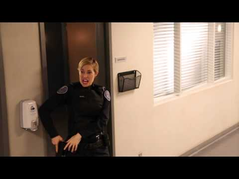 Rookie Blue onset gagreel with Charlotte Sullivan and Matt Gordon