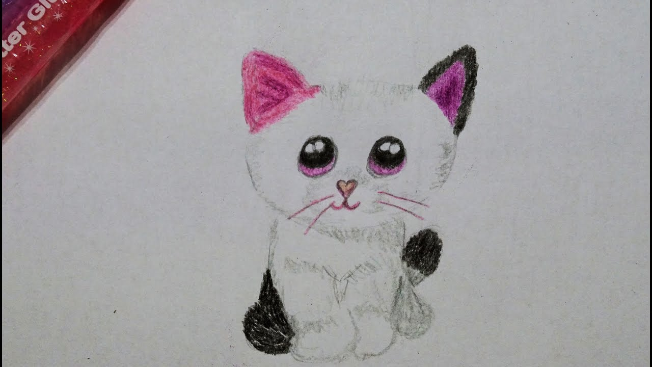 katze zeichnen lernen f r kinder how to draw a cute kitty cat drawing. Black Bedroom Furniture Sets. Home Design Ideas