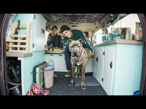 VAN LIFE TOUR :: Young Couple + Dog Survive Canadian Winter in converted camper van.