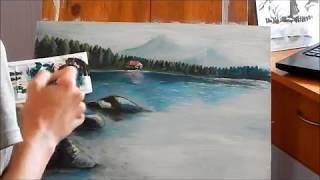 Видео урок Рисуем пейзаж с озером акриловыми красками | Drawing acrylic lesson : landscape