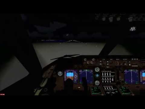 FSX BOEING 747 AIR FRANCE LANDING AT FORT DE FRANCE AIRPORT WITH FULL MOON