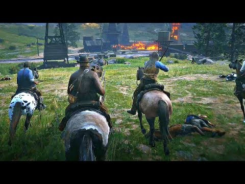 Red Dead Redemption 2 - Dutch Gang & Natives VS US Army (Epic War Battle)